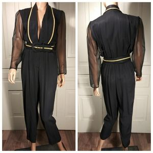 Vintage jumpsuit sheer long sleeved pocketed VTG